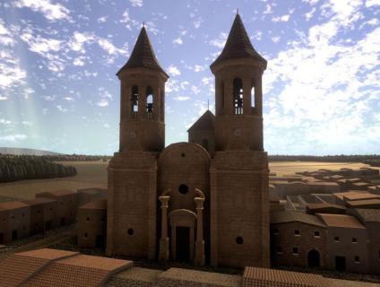 El vídeo recrea com hauria pogut ser l'església amb dos campanars